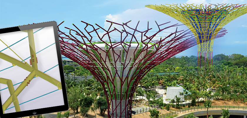 Supertrees consisting of concrete trunks with a canopy made of a complex of steel tubes that form the branches at the top of each tree