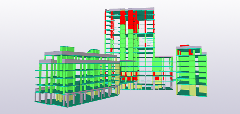 Tekla Structures model showing colour coded sequence of erection
