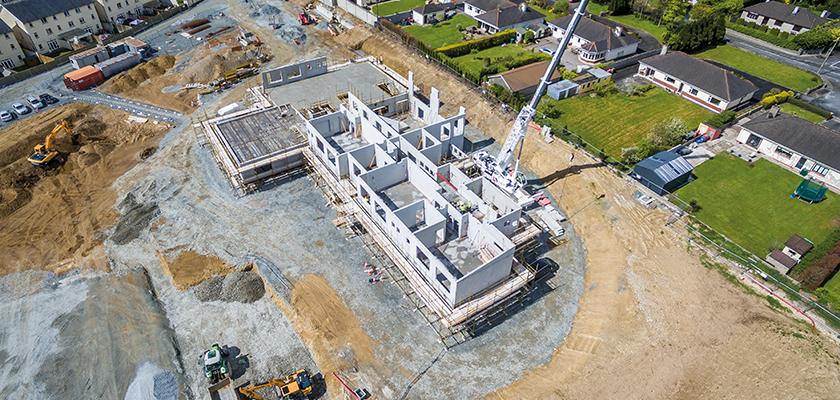 Aerial view of Stewart School in Cork under construction