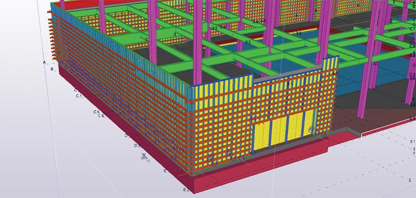 Tekla Structures model showing formwork around concrete panel
