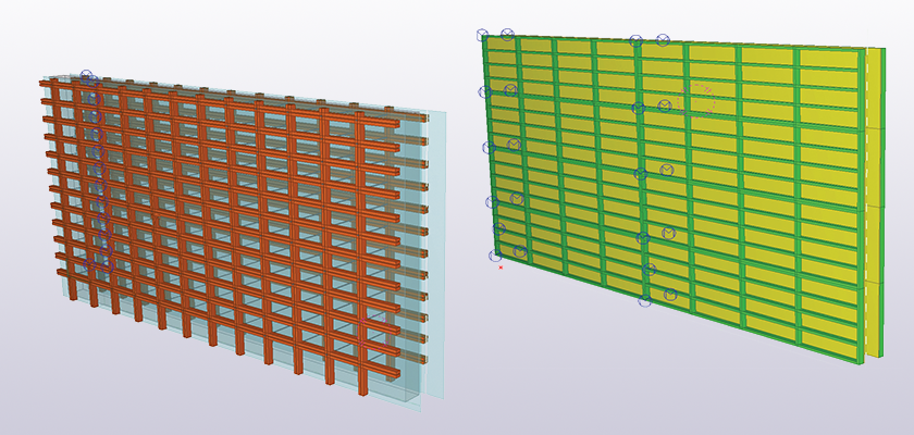 Tekla Structures model of wall panels