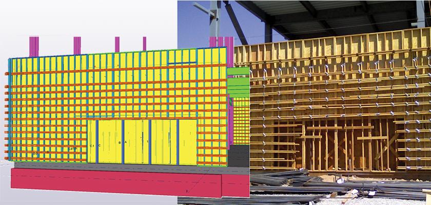 Comparison of Tekla Structures model against actual formwork onsite