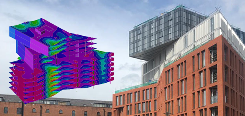 Analysis model and render of Burlington House, a uniquely twisting three-tiered building