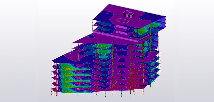Tekla Structural Designer model of Burlington House showing slab deflections