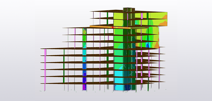 Model showing 2D element results in Tekla Structural Designer for slabs and walls which are modelled with 2D (Finite) elements