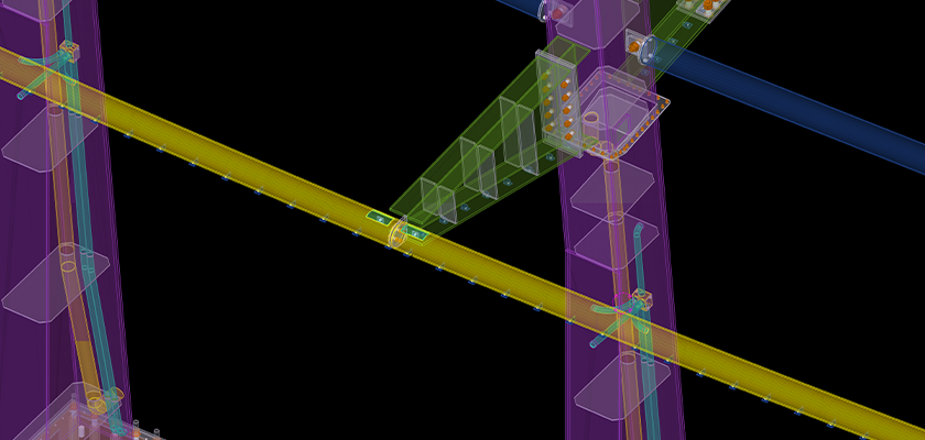 Tekla Structures 3D model showing MEP services in the steel columns