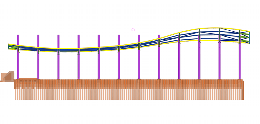 Tekla Structures model view from side showing wave-like formation of structure