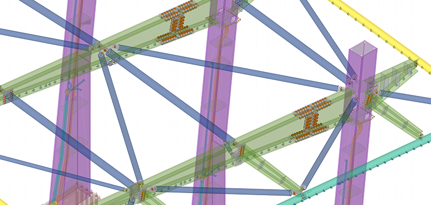 Tekla Structures model of complex steel connections