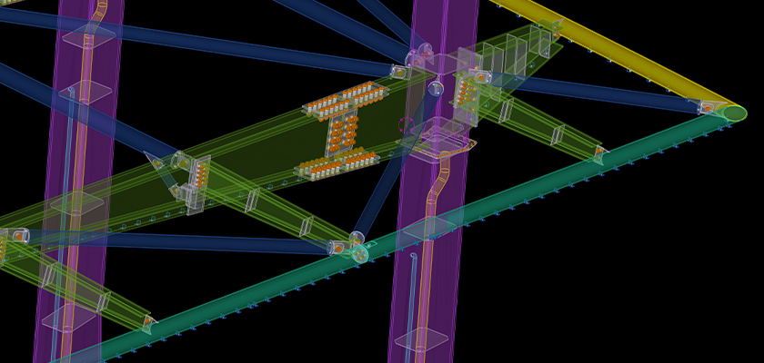 Tekla Structures model view of splay cut to the roof's corner steel tubes
