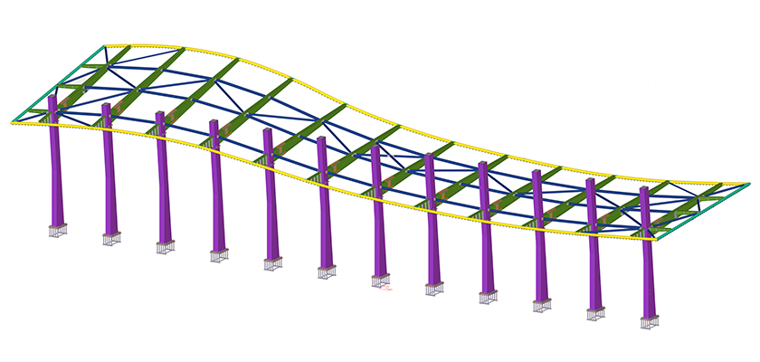 Tekla Structures 3D model of the primary steelwork canopy structure