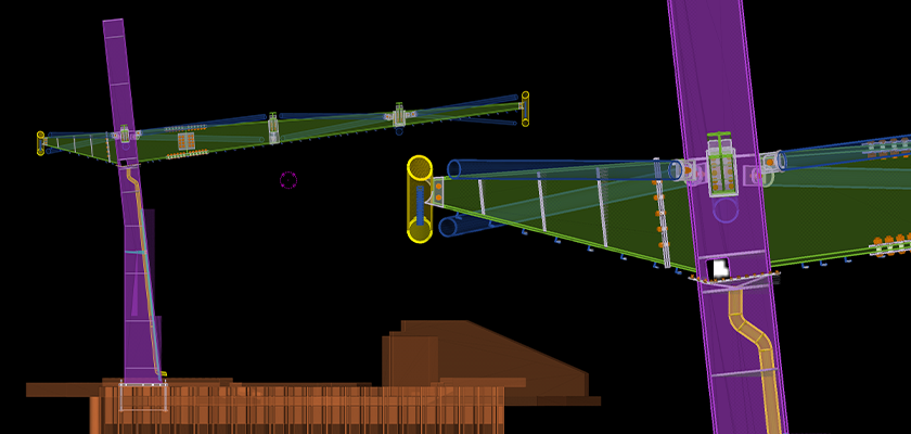 End view of Tekla Structures model showing column with MEP with tapered rafters and tapered rear cantilevered arms