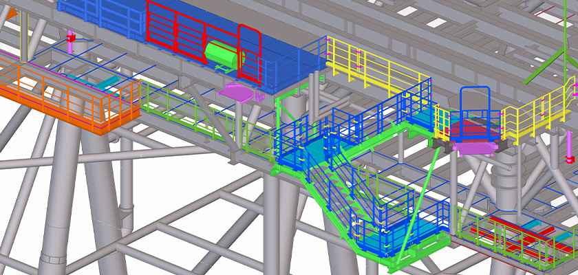 Tekla Structures model of SE stair and main deck laydown