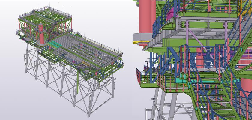 Completed Tekla Structures 3D model of offshore gas platform