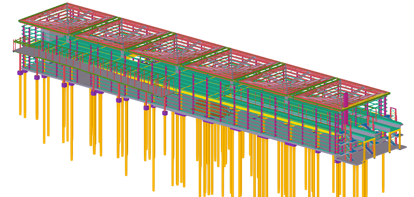 Tekla Structures 3D model showing the Parkway canopies and concourse