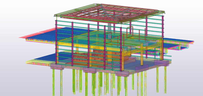 Tekla Structures model of Parkway Station showing concourse and canopy