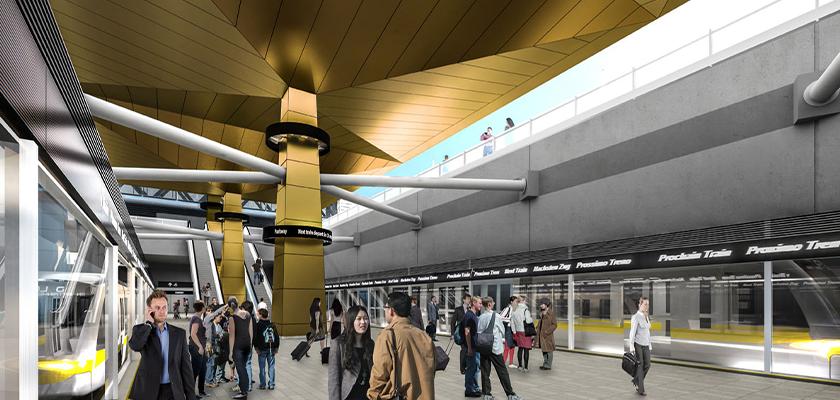 Central Terminal Station interior showing platform below ground level