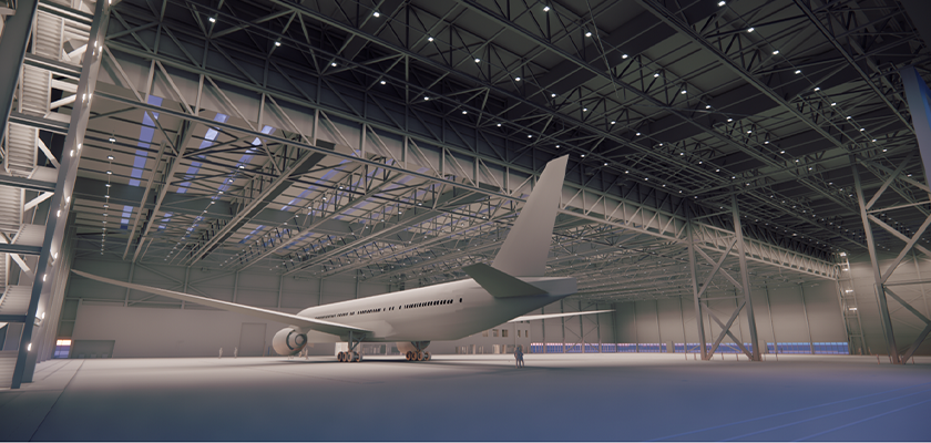 Artist impression of Boeing 787 Dreamliner in hanger