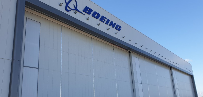 External view of Boeing hanger upon completion