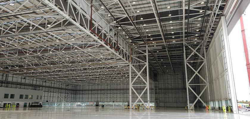 Steel truss and columns inside the Boeing hanger