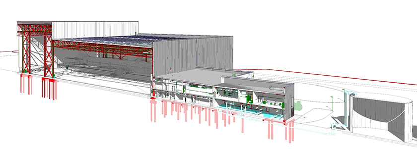 Tekla Structures model with imported reference file of Boeing hanger