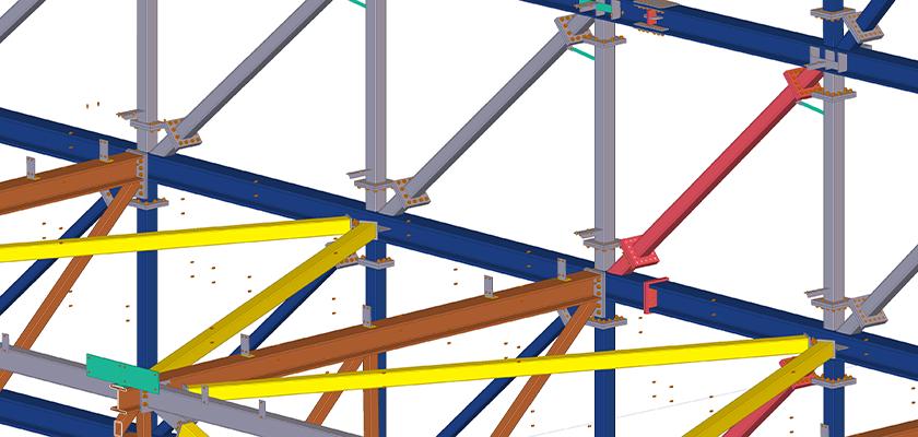Tekla Structures connection design for Boeing hanger
