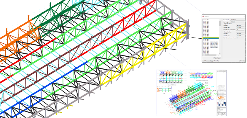 Tekla Structures model showing fabrication and build sequence