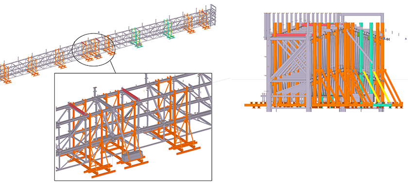 Tekla Structures model of temporary works for box truss