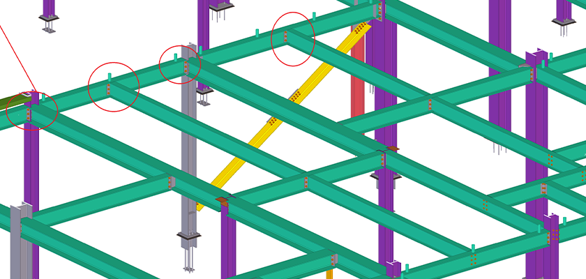Tekla Structures end-plate connections for Boeing hanger