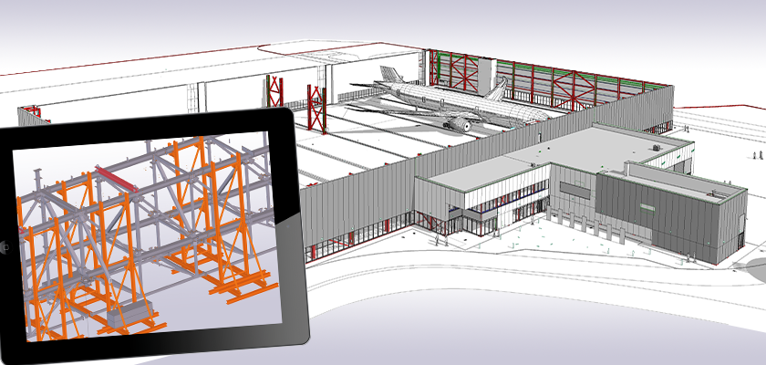 Tekla Structures model with import reference file of Boeing hanger