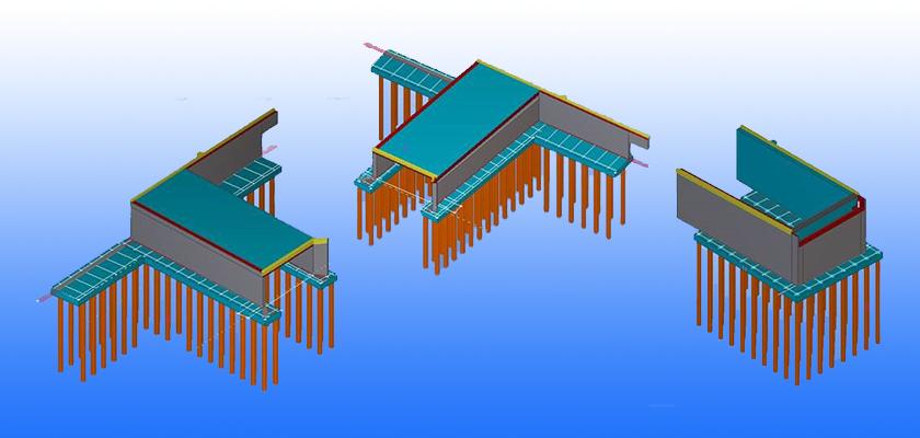Concrete Tekla Structures model showing pile foundations