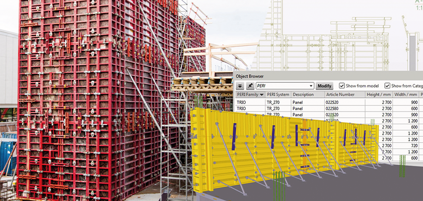 Tekla Structures model of formwork and Object Browser dialog