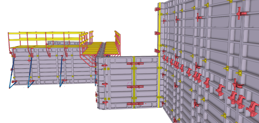 Formwork placing tools within Tekla Structures include panels, clamps and shoring