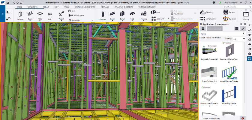 Tekla Structures screenshot of light metal framing model showing component catalogue