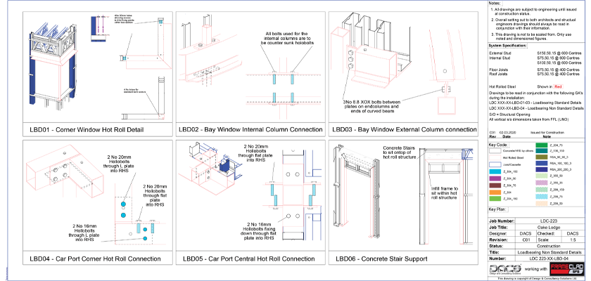 Tekla Structures drawing showing load bearing non standard details