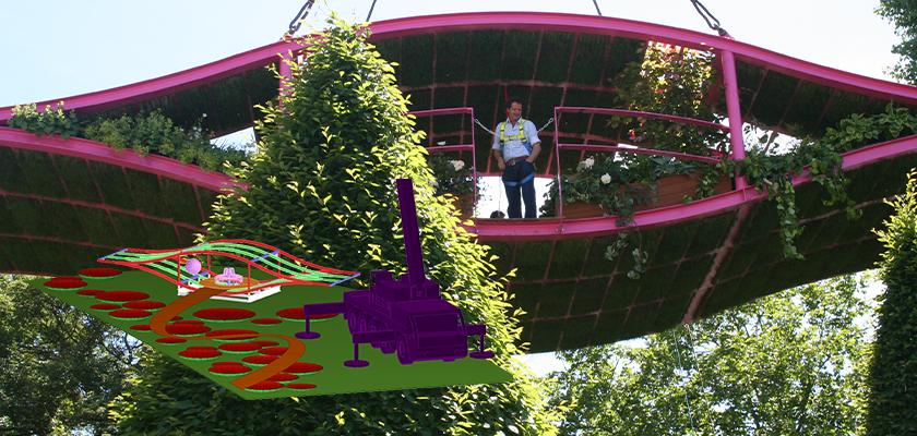 Steel eye-shaped steel pod suspended by crane above Chelsea Flower Show