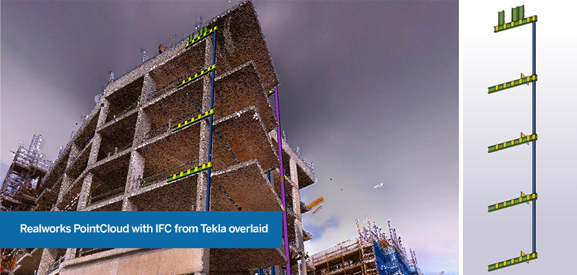 Trimble Realworks pointcloud with IFC from Tekla Structures overlaid