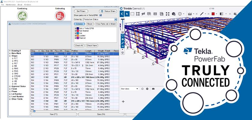 Tekla EPM screenshot showing production status in Trimble Connect