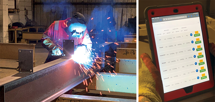Man welding steel beam in fabrication shop, and tablet showing production tracking