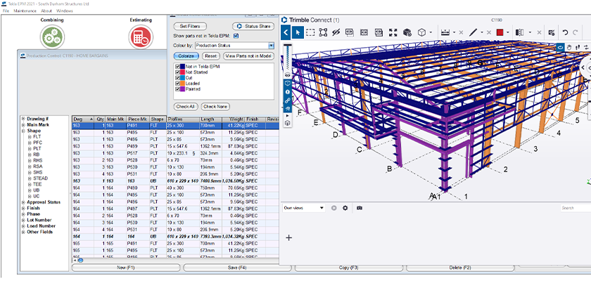 Viewing production status of project using Tekla PowerFab and Trimble Connect