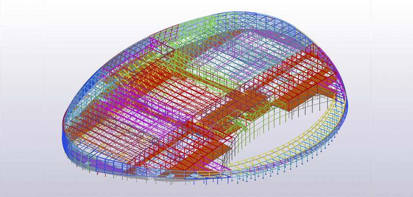 """Ansicht auf das 3D-Modell """"Sportcampus Zuiderpark"""" von Oostingh Staalbouw in Tekla Structures"""