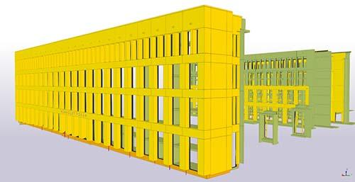 Modellierung der Betonfertigteile mitsamt den Verbindungselementen zur Rohbaufassade in Tekla Structures.
