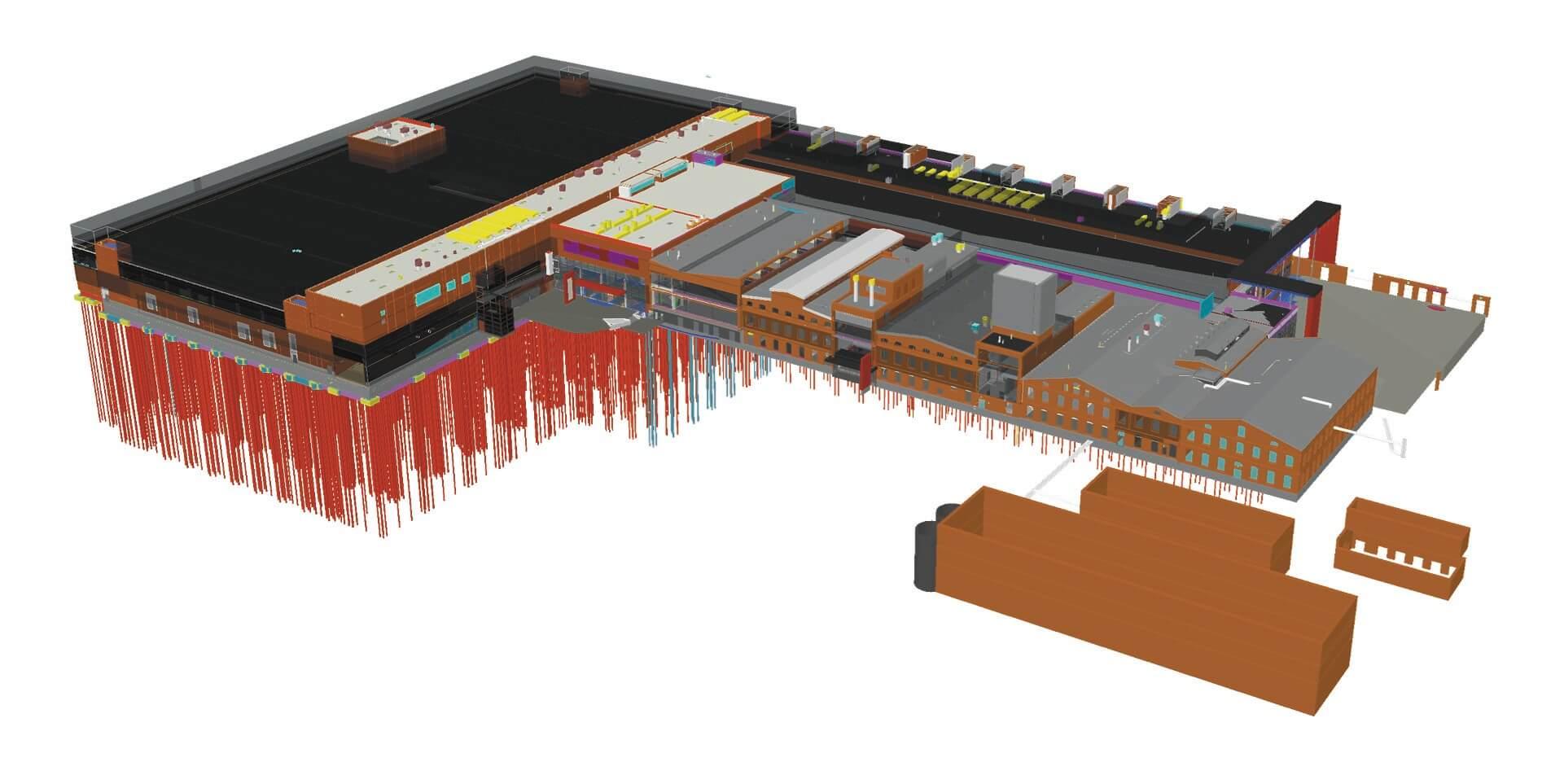 Das Einkaufszentrum Puuvilla als 3D-Modell in Tekla Structures.