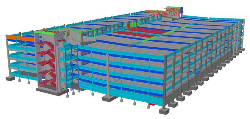 Die Hauptverwaltung des Bauunternehmens Max Bögl wurde um ein Parkhaus erweitert: Ansicht des Modells in Tekla Structures.