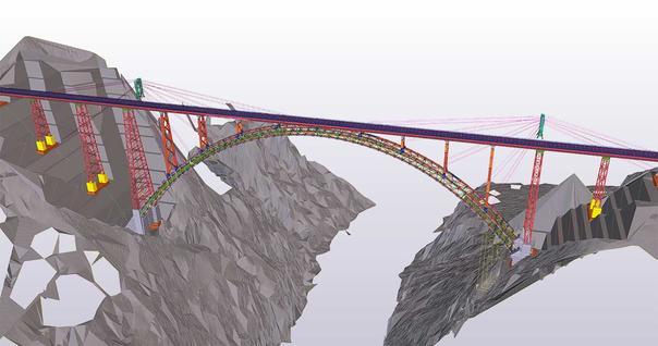 Die Eisenbahnbrücke wird mit Tekla Structures geplant.