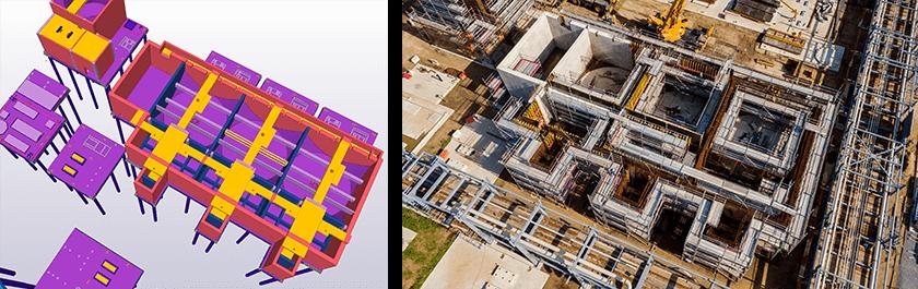 Ansicht auf ein Betonbauwerk der Wasseraufbereitung in Tekla Structures und auf der Baustelle