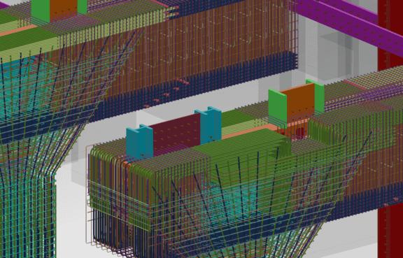 Detail-Ansicht des Tekla-Rebar-Modells.