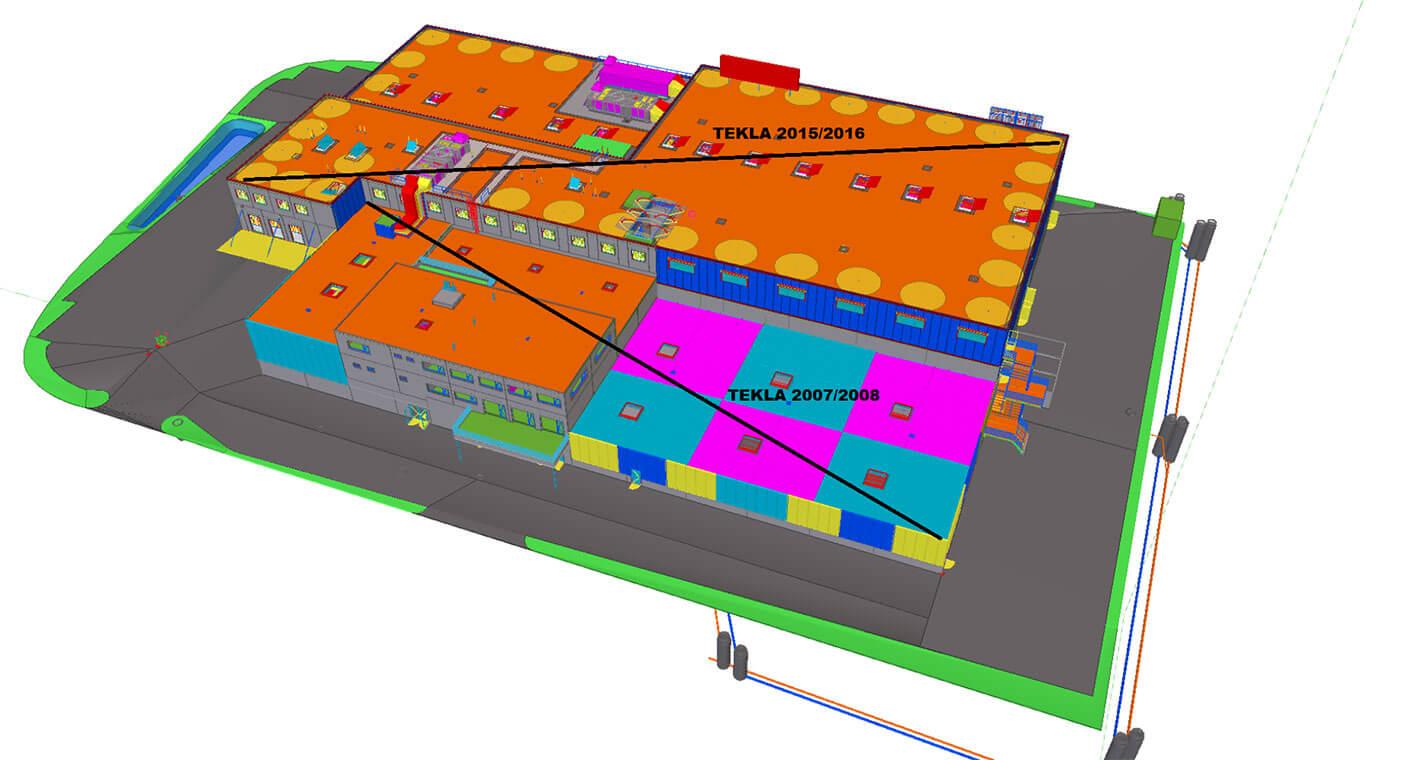 Ansicht des Sportzentrums GoEasy in Tekla Structures. Es wurde in zwei Etappen gebaut.