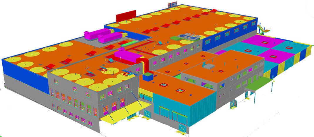 Das 3D-Modell mit sämtlichen Baumaterialien und mit einer Detailtiefe von 100%