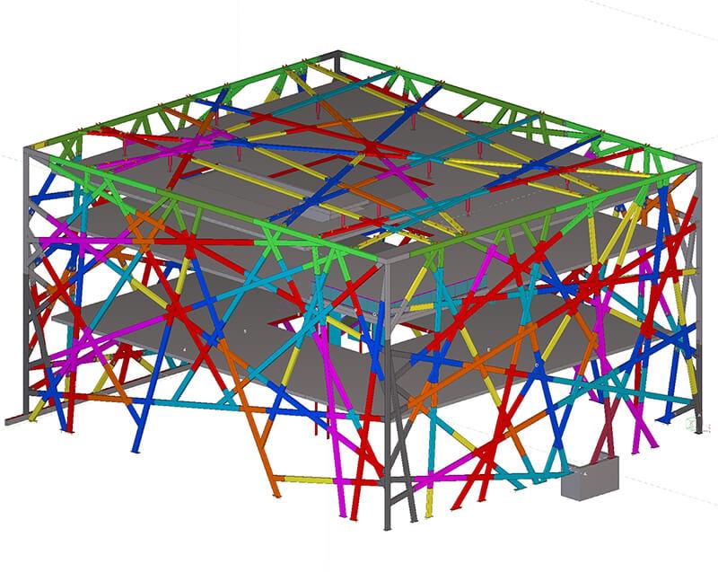 Ansicht der Stahlkonstruktion in Tekla Structures