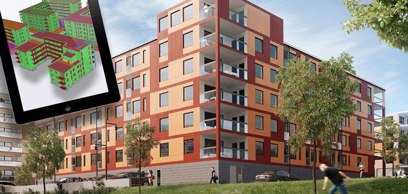 Ihus setzt auf die BIM-Software Tekla Structures, wie beim Projekt Arkens Väg.